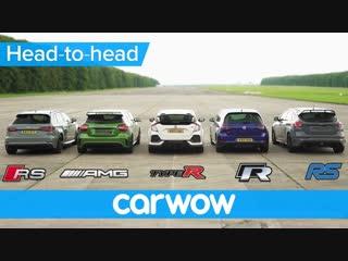 Дрэг с места и сходу. Audi RS 3, MB A45 AMG, Honda Civic Type R, VW Golf R, Ford Focus RS [BMIRussian]