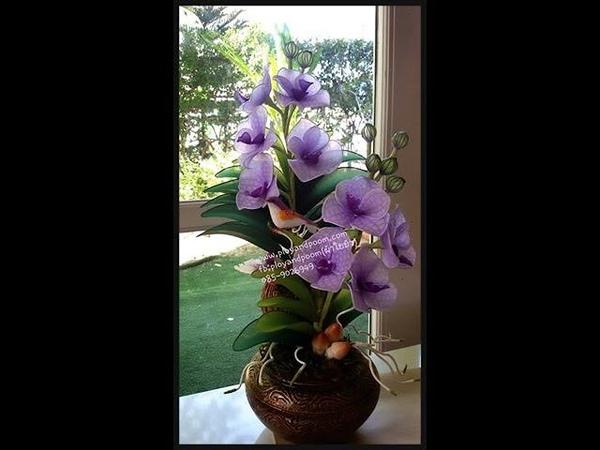 How to make nylon flower (vanda orchid) by FB:ployandpoom(ผ้าใยบัว)