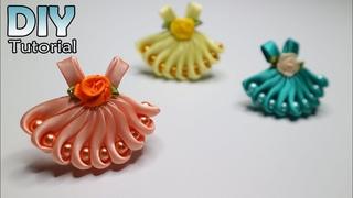 DIY || How to make kanzashi little dress | Satin ribbon flower | Bros Gaun anak | Jepit rambut