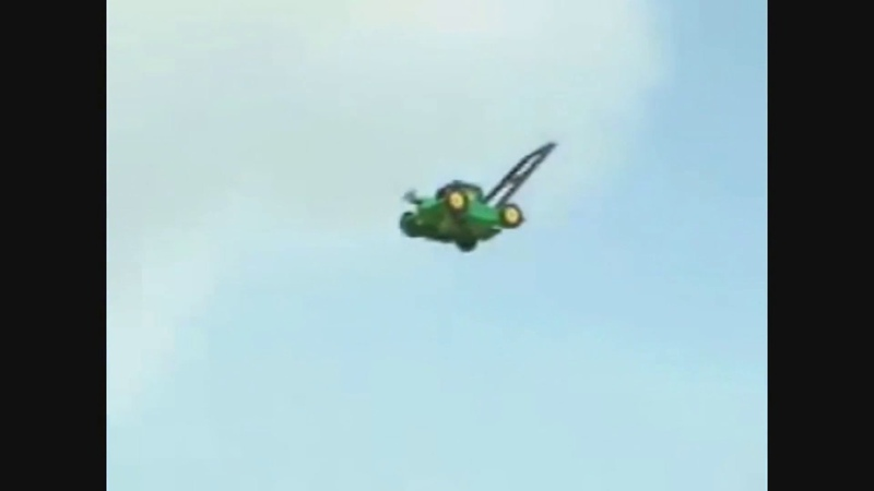 Lawnmower flying away with Moon theme from Duck Tales playing in the background