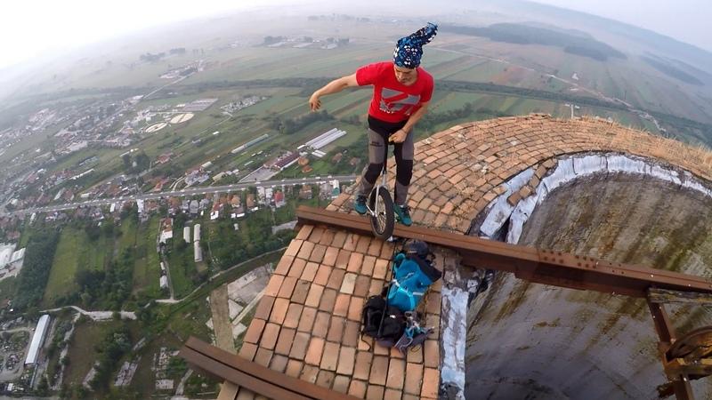 Unicycle on huge chimney in Targu Jiu