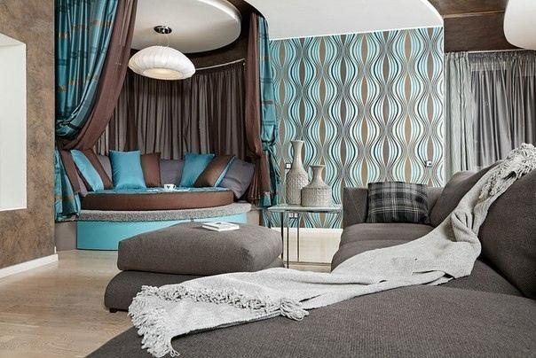 Мягкий уголок в стильной гостиной