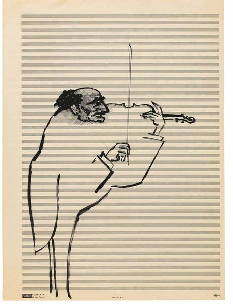 Сол Стейнберг (Saul Steinberg, США 15 июня 1914 - 1999) Художник и нотная бумага:Примерно в 1950 году Штейнберг представил графические листы выполненные на нотной бумаге. Знакомые нотные линии
