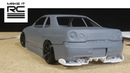 Smoothing 3D Printed Skyline Body Designing Wheels and Scratch Building Rear Diffuser E4