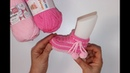 Iki şişle kolay iki renkli bebek patiği yapılışı
