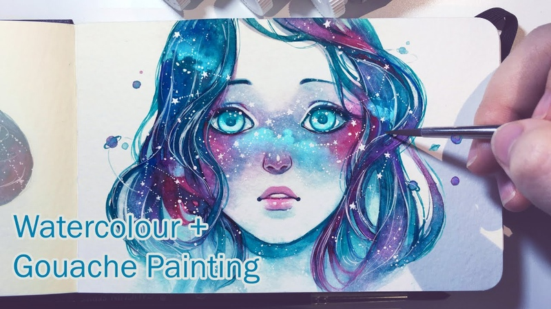 Starred Freckles - Watercolor Gouache Painting Timelapse