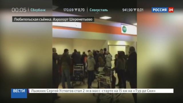 Новости на Россия 24 • В аэропорту Шереметьево пассажиры не могут получить багаж из-за замерзших дверей