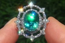 GIA Certified Natural VVS Blue Zircon Diamond PLATINUM Cocktail Estate Ring GEM - C787