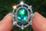 GIA Certified Natural VVS Blue Zircon Diamond PLATINUM Cocktail Estate Ring GEM - C787