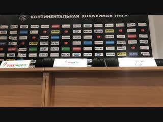 Пресс-конференция после матча с «Ак Барсом» (3:4 ОТ) — прямой эфир