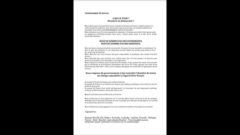 Gilets Jaunes : Communiqué de presse Maxime Nicolle du Dimanche 23 décembre 2018