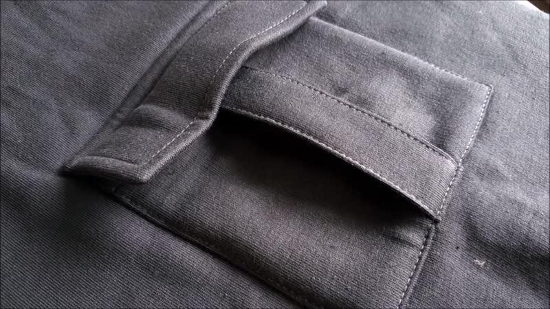 How to sew a POCKET. Trouser pocket .Sewing course. Jak uszyć kieszeń bojówkę z
