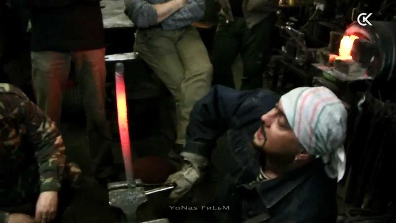 Сварка дамаска на газовом горне. Welding Damascus on a gas forge HD