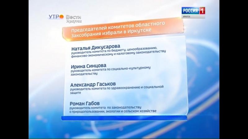 Председателей комитетов областного Законодательного собрания избрали в Иркутске