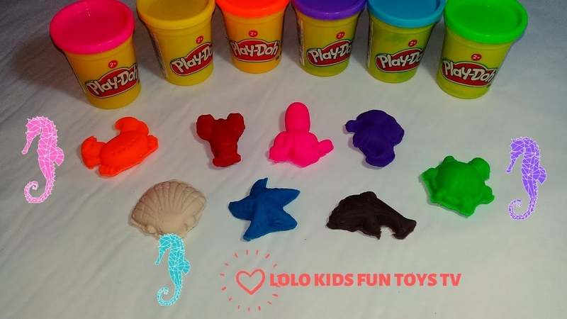 Learn Colors with 7 Colors Play Dough Lollipops and make Sea Animals