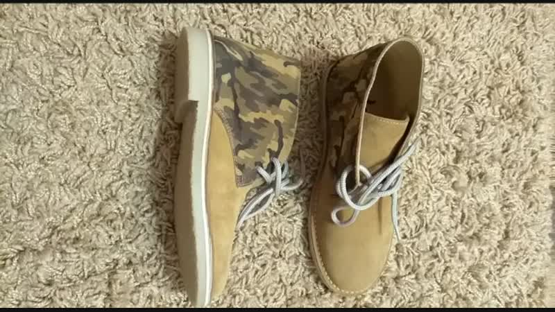 Новые французские ботинки 👞 с защитной расцветкой из натуральной замши, подкладка из натуральной кожи, резиновая подошва , размер 36