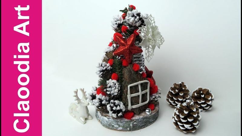 Zimowy leśny domek papierowa wiklina Winter forest cottage wicker paper DIY