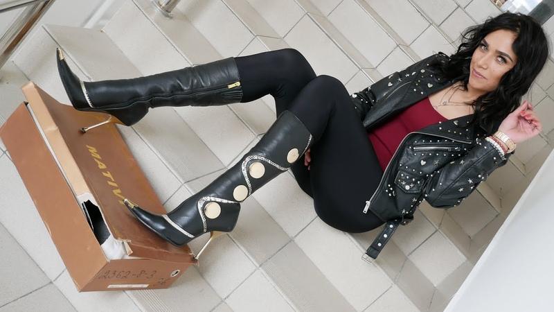 Kristina's gold pointed toe steel high heels MATIVI boots Size EU 36 US 7
