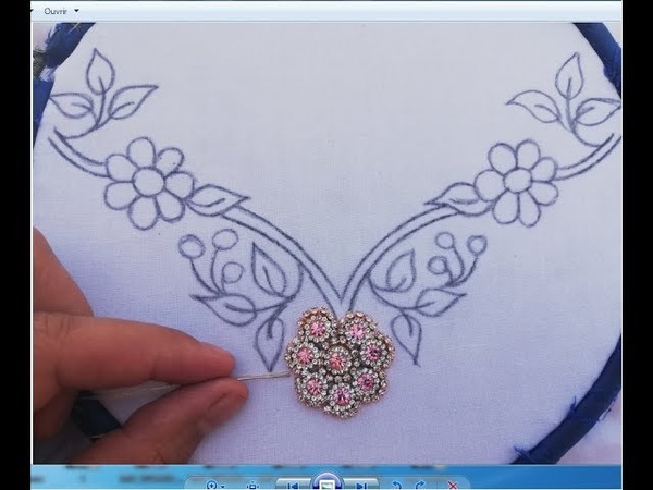 Hand Embroidery Neckline Embroidery Design With Beads