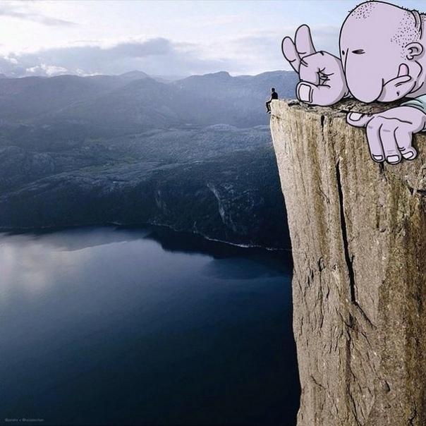 Английский художник-карикатурист Лукас Левитан создаёт иллюстрации не только с нуля, но и дополняет своими деталями уже готовые фотографии (как свои, так и чужие)