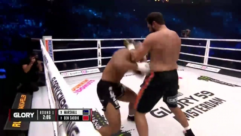 GLORY59 Results Jamal Ben Saddik def D'Angelo Marshall by TKO three knockdown rule Round 1 0 57