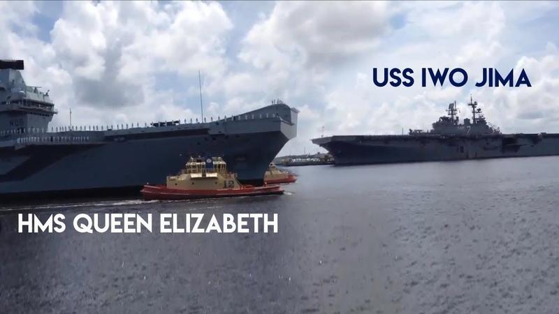 RARE MOMENT: HMS Queen Elizabeth meet USS Iwo Jima in the USA