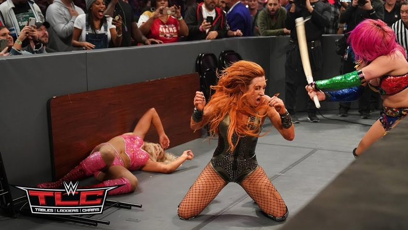 Becky Lynch Charlotte Flair and Asuka trade punishing blows in thrilling TLC Match WWE TLC 2018