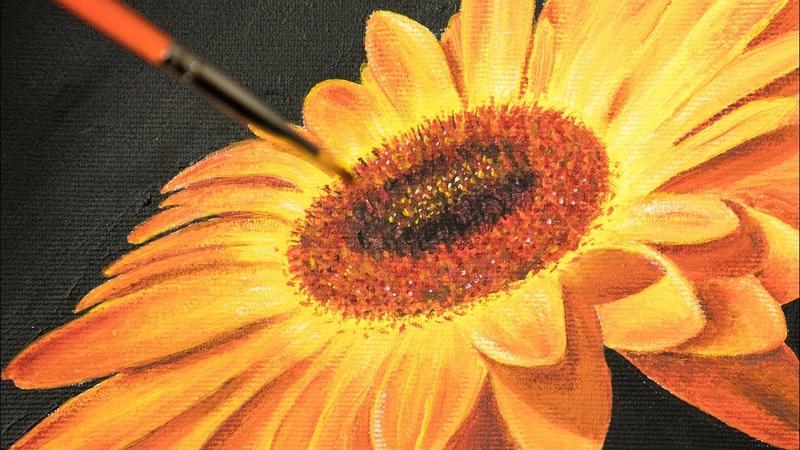 Bright Yellow Вaisy Flower - Acrylic painting / Homemade Illustration (4k)