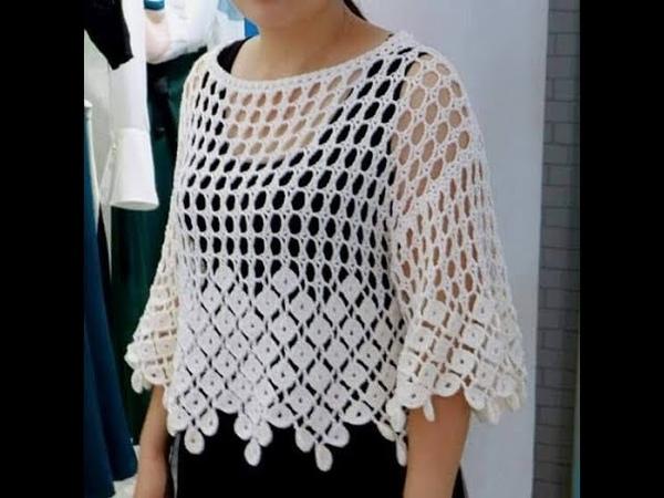 Crochet tutorial blusa facil Marbella todas las tallas