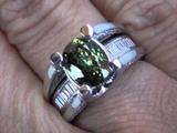 Unheated &amp Untreated GIA Certified Top Gem Demantoid Garnet &amp Diamond RIng Set In Solid 18K Gold