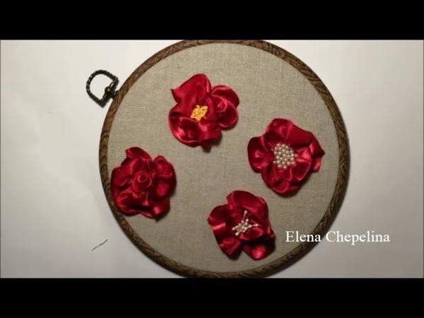 Простой цветок из ленты Simple ribbon flower