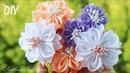 Еще один простой способ сделать цветы из ленты🌺 Резиночки с цветами