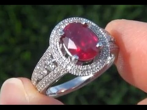 GIA Certified Unheated Burma Ruby Diamond Estate Ring Auctioned on eBay at $1 No Reserve