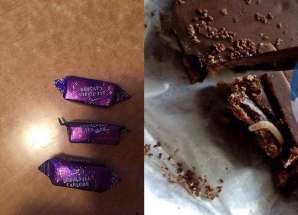 Покупатели пожаловались на конфеты с червями. Случай произошел в Новокузнецке. Местная жительница купила