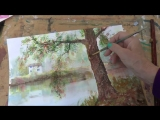 1 Рисуем кору дерева. Осенний пейзаж акварелью. Tatjana Baker. How to paint the bark of the tree in WC