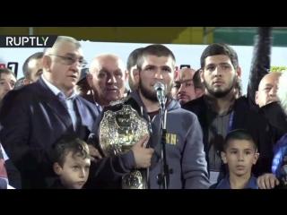 На «Анжи-Арене» прошла встреча чемпиона UFC Хабиба Нурмагомедова с болельщиками