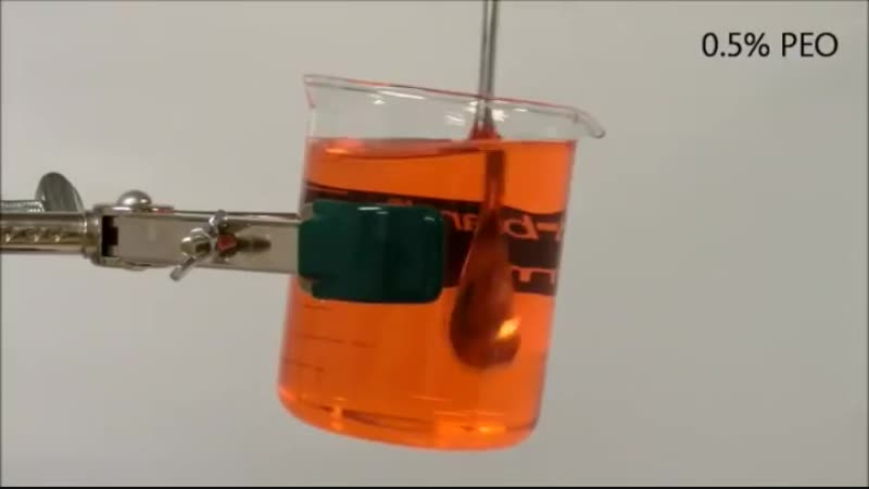 A viscoelastic fluid can pour itself, known as the open channel siphon effect