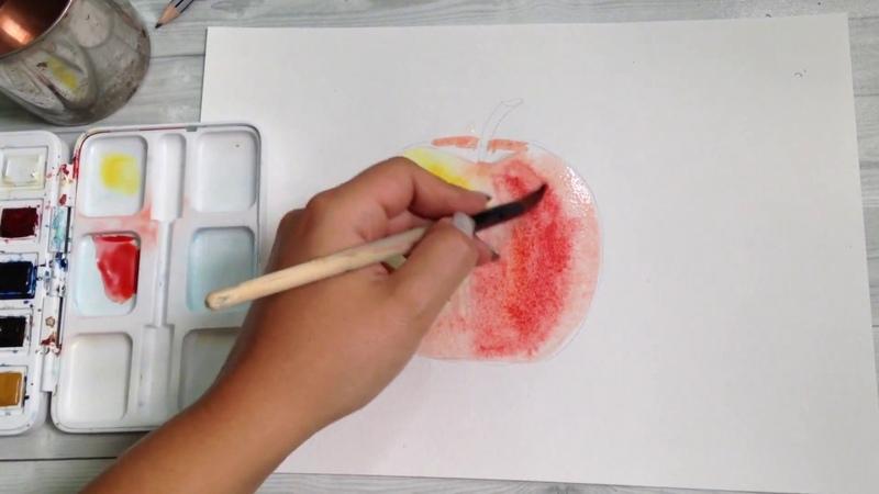 Как нарисовать яблоко акварелью. 365 арт дней. День 1