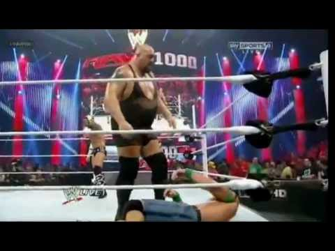The Rock Saves John Cena From Big Show ( 1000 Raw , Cm punk Heel Turn ) 23/07/12