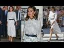 La Reina Letizia estupenda con nuevo vestido criticado de Massimo Dutti de lunares en Salamanca