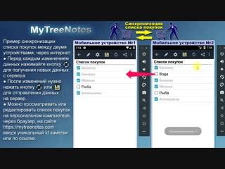 Как с одним списком покупок работать нескольким пользователям одновременно. В записной книжке MyTreeNotes для Android.