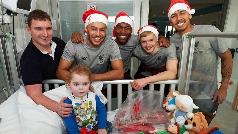 Liverpool FC squad make 2018 Christmas visit to Alder Hey Children's Hospital