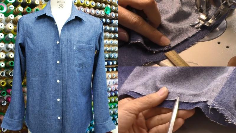 シャツの作り方・縫い方 Part4 「袖付け 折り伏せ 裾三つ折り」 How to sew a Class