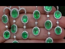 Angelina Jolie AUCTION Natural Colombian Emerald Diamond 18k White Gold Stud Earrings - A141553