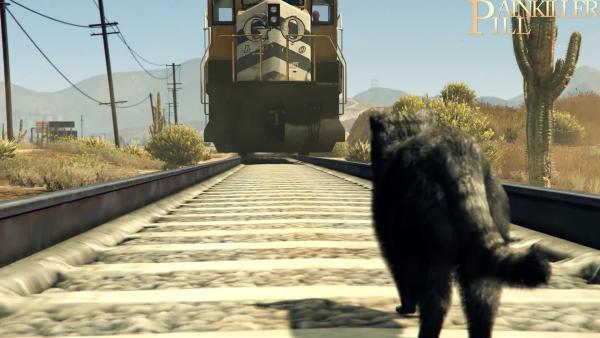 GTA 5 - Как с помощью котэ Тревор остановил поезд!