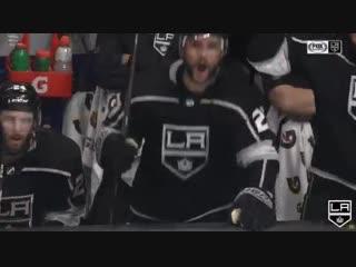 LA Kings - Ilya Kovalchuk with the big hit 😲 Alec Martinez and Drew Doughty are LOVING it 😂 #GoKingsGo