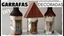 DIY GARRAFAS DECORADAS CASINHAS - Artesanato do Compartilhando Arte - Do Lixo ao Luxo