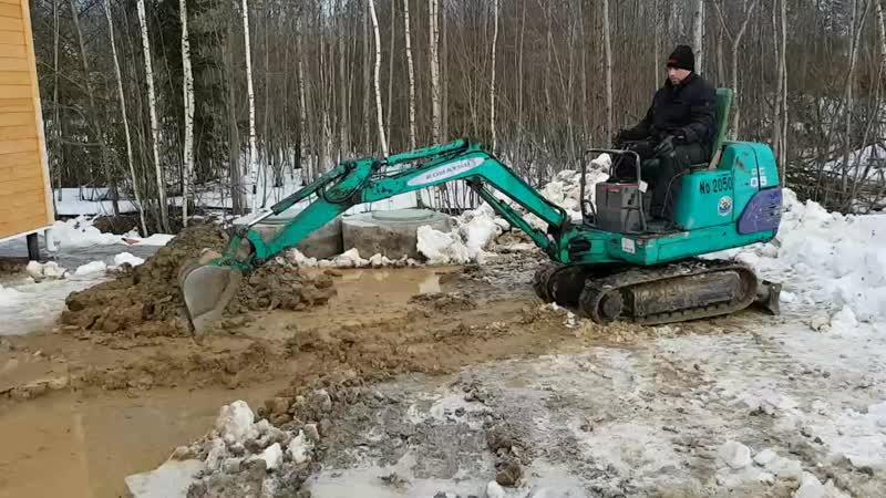 Миниэкскаватор. Полная уборка снега с площадки ,траншея от дома(отвод воды) в котлован м жальша траншея в дренаж