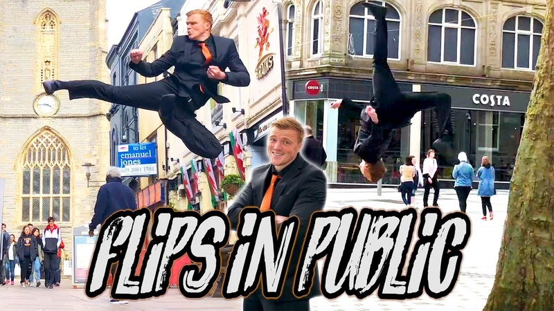 FLIPS IN PUBLIC! BACKFLIP! REACTIONS! 😮 | SUIT EDITION | FLIPS KICKS