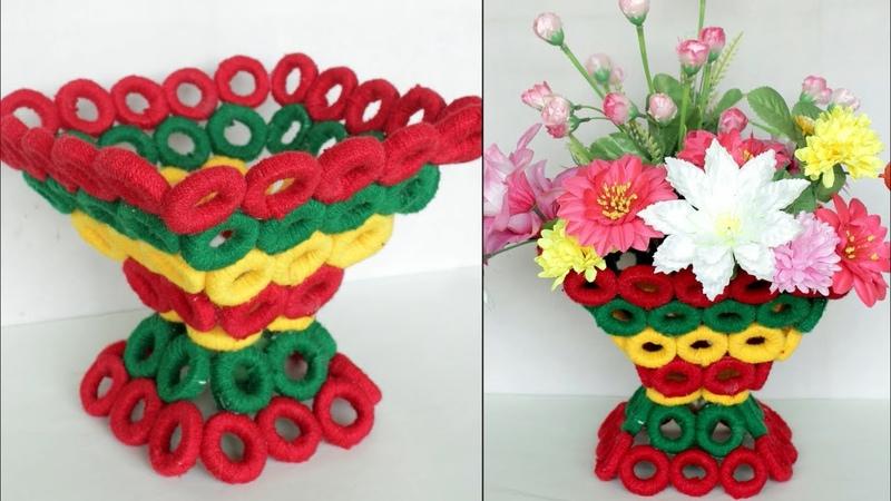 WOW Beautiful Decorative Flower Basket Making at Home Handmade Craft DIY Room Decor Flower Vase